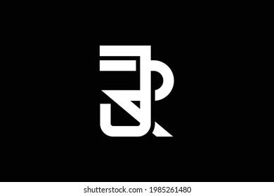 JR letter logo on luxury background. RJ monogram initials letter logo concept. JR icon design. RJ elegant and Professional letter icon on black background.