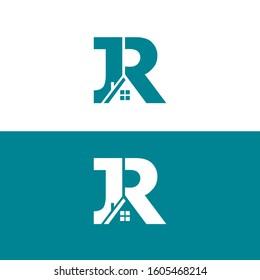 JR letter real estate logo design vector