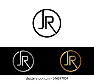 JR Logo. Letter Design Vector with Red and Black Gold Silver Colors