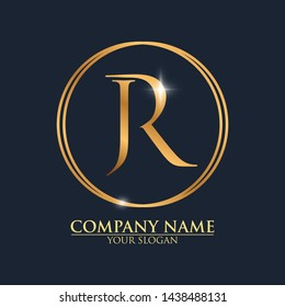 JR Logo template with Luxury gold letter modern design
