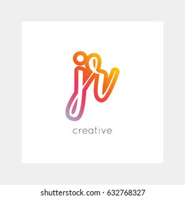 JR logo, vector. Useful as branding, app icon, alphabet combination, clip-art.
