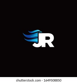 JR monogram logo with blue fire style design template