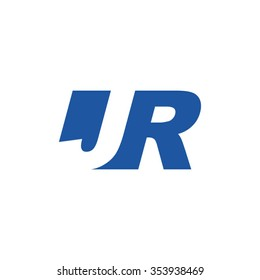 JR negative space letter logo blue