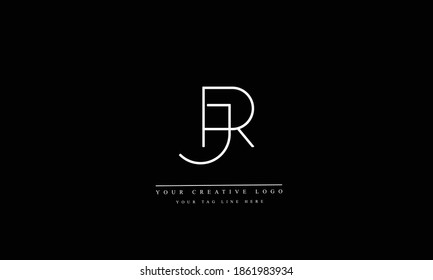 JR, RJ, J and R abstract vector logo monogram template