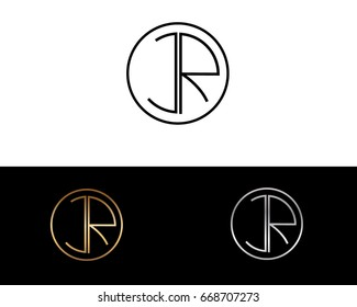 JR round circle shape initial letter logo