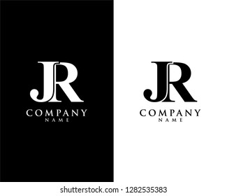 jr/rj initial company name logo template vector
