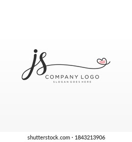 JS Beauty vector initial logo, handwriting logo of initial signature, wedding, fashion, jewelry, boutique, floral and botanical with creative template for any company or business.