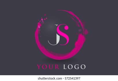JS Circular Letter Brush Logo. Pink Brush with Splash Concept Design.