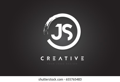 JS Circular Letter Logo with Circle Brush Design and Black Background.