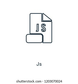 Js concept line icon. Linear Js concept outline symbol design. This simple element illustration can be used for web and mobile UI/UX.