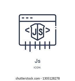 js icon from programming outline collection. Thin line js icon isolated on white background.