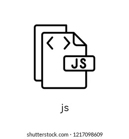 Js icon. Trendy modern flat linear vector Js icon on white background from thin line Programming collection, editable outline stroke vector illustration