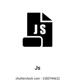Js icon vector isolated on white background, logo concept of Js sign on transparent background, filled black symbol