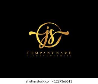 JS initial handwriting logo circle template vector