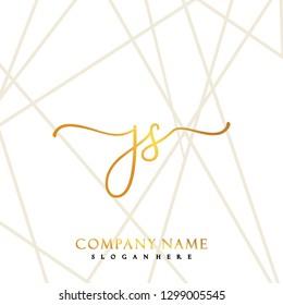 JS Initial Handwriting logo template vector