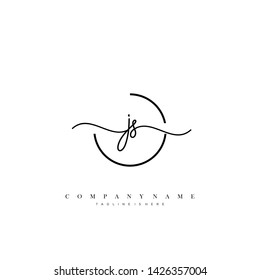 JS initial handwriting logo template vector