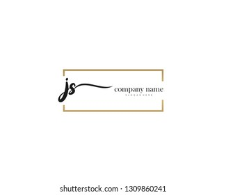 JS Initial handwriting logo vector. Hand lettering for designs.