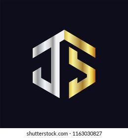 JS Initial letter hexagonal logo vector