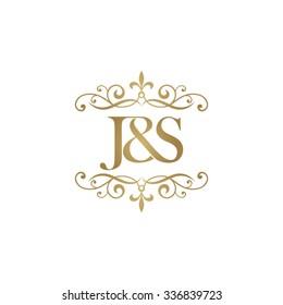 J&S Initial logo. Ornament ampersand monogram golden logo