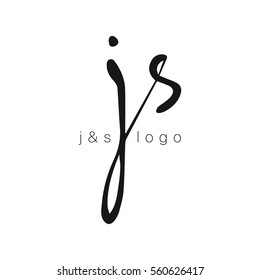 JS initial monogram logo template. Lettering. Vector isolated logo illustration.