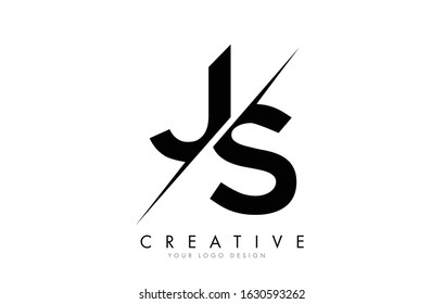 JS J S Letter Logo Design with a Creative Cut. Creative logo design..