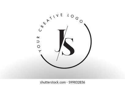 JS Letter Logo Design with Creative Intersected and Cutted Serif Font.