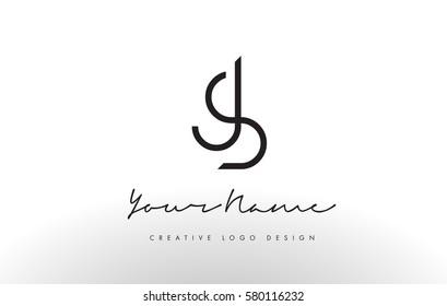 JS Letters Logo Design Slim. Simple and Creative Black Letter Concept Illustration.