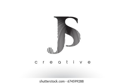 JS Logo Design With Multiple Lines. Artistic Elegant Black and White Lines Icon Vector Illustration.