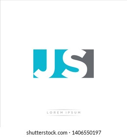 JS Logo Letter with Modern Negative space - Light Blue and Grey Color EPS 10