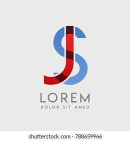 "JS logo letters with ""blue and red"" gradation"