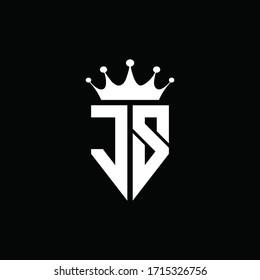 JS logo monogram emblem style with crown shape design template
