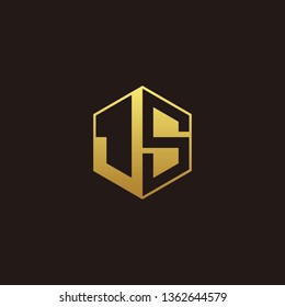JS Logo Monogram with Negative space gold colors