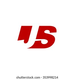 JS negative space letter logo red