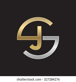 JS or SJ letters, golden silver circle S shape