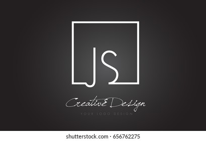 JS Square Framed Letter Logo Design Vector with Black and White Colors.