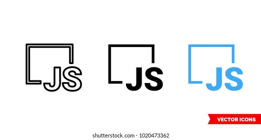 Js symbol icon of 3 types: color, black and white, outline. Isolated vector sign symbol.