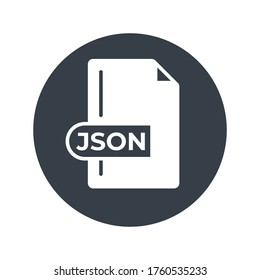JSON File Format Icon. JSON extension filled icon.