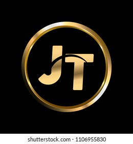 JT initial circle company logo gold black background