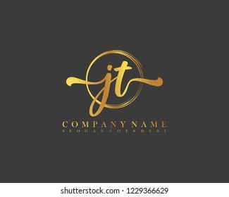 JT initial handwriting logo circle template vector