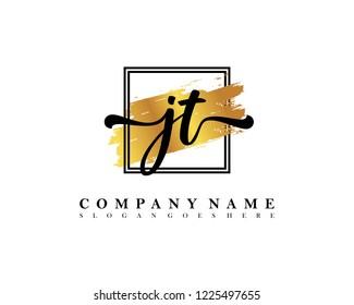 JT Initial handwriting logo concept