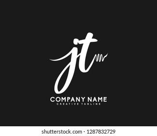 JT Initial Handwriting Logo Template Vector