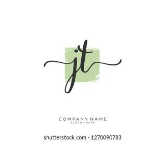 JT Initial handwriting logo vector