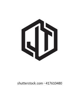 JT initial letters looping linked hexagon monogram logo