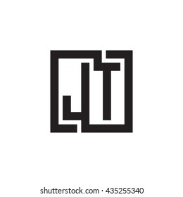 JT initial letters looping linked square monogram logo