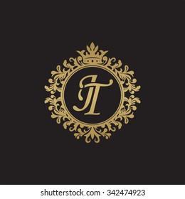 JT initial luxury ornament monogram logo