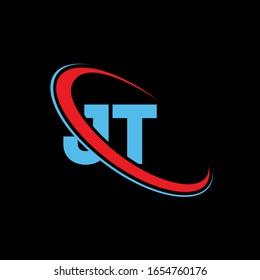 JT J T letter logo design. Initial letter JT linked circle upercase monogram logo red and blue. JT logo, J T design