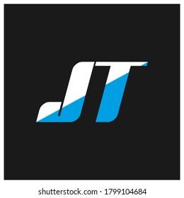 JT letter logo design on black background. JT creative initials letter logo concept. jt icon design. JT white and blue letter icon design on black background. J T