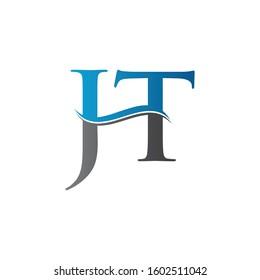 JT letter Type Logo Design vector Template. Letter JT logo Design