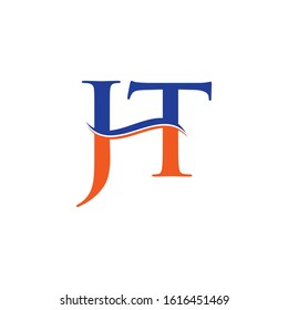 JT letter Type Logo Design Blue, Orange With White Background. Initial JT logo Design