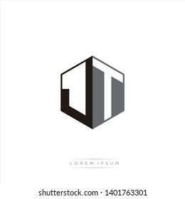 JT Logo Initial Monogram Negative Space Design Template With Black and Grey color